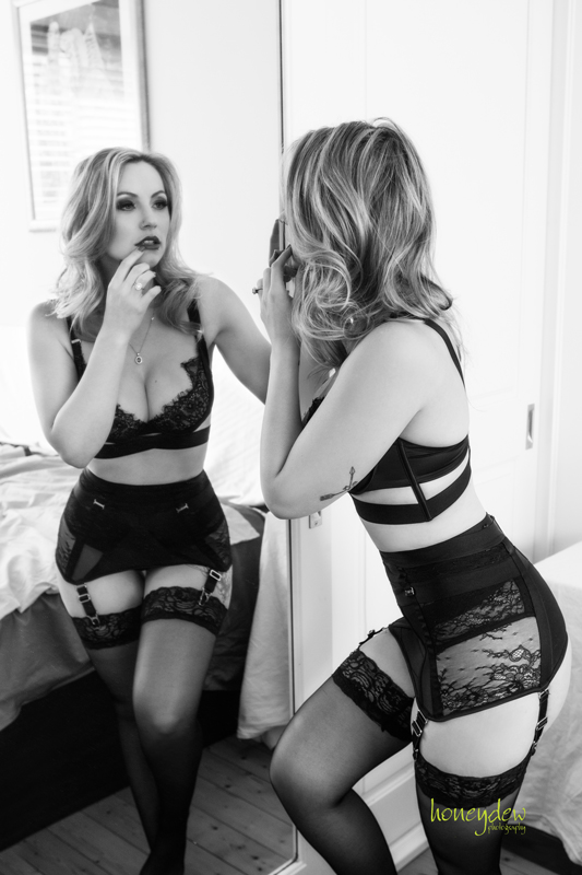 seeing double mirror stockings boudoir session