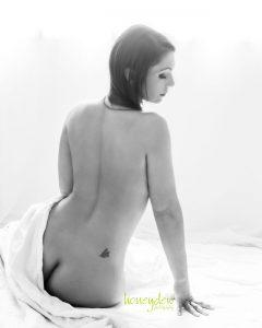 sensual back of nude in backlight Sydney boudoir studio