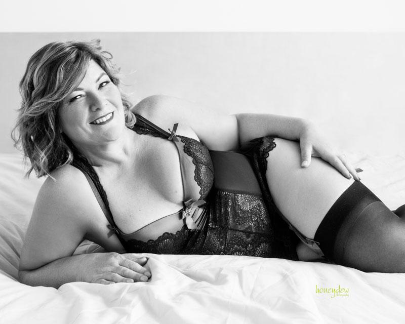 lingerie stunning lady in Sydney boudoir studio posing for her birthday present