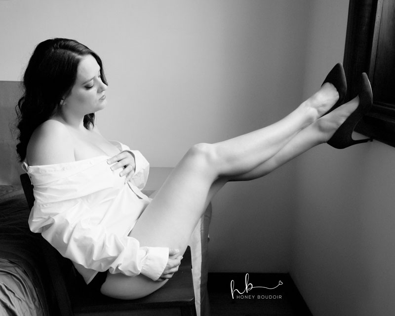 women looking at her outstretched legs